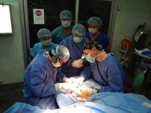Outreach surgeons teaching local Cambodian surgeons